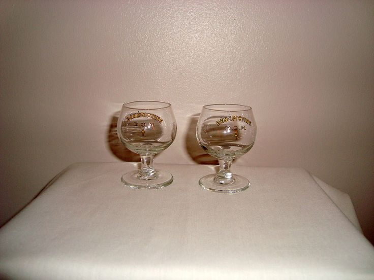 Pair Of Benedictine Liqueur Vintage Glasses. 5.5cm in Height. D.O.M and Bénédictine inscribed. http://etsy.me/2Ey9vDy #art #1960s #alexandrelegrand #barware #belgium #benedictineliqueur #collectibleglass #pubmeasure #shotglasses