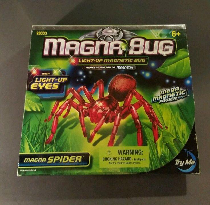 MAGNA BUG SPIDER MAGNETIC TOY WITH LIGHT UP EYES #28333 NIB MEGA BLOKS 2006 #MegaBloks