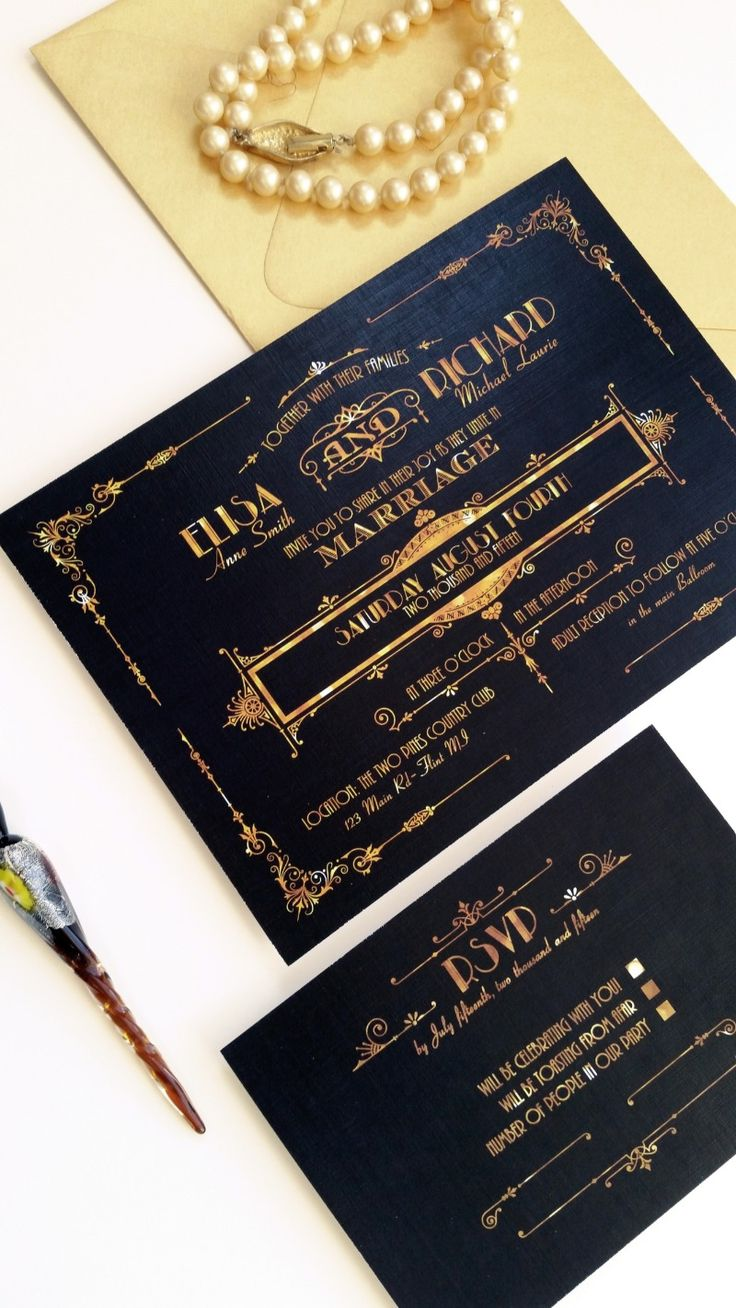 Roaring Twenties Great Gatsby Inspired wedding invitation set {coordinated items for your Big Day available!} See more here: http://designedwithamore.com/product/wedding-invitations-galena-deposit/