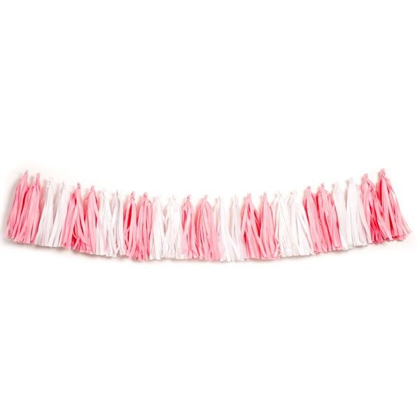 Events & Occasions :: Pink Ribbon Day to Valentine's Day :: Pink Ribbon Day :: Tassel Garland Tissue Paper Pink & White