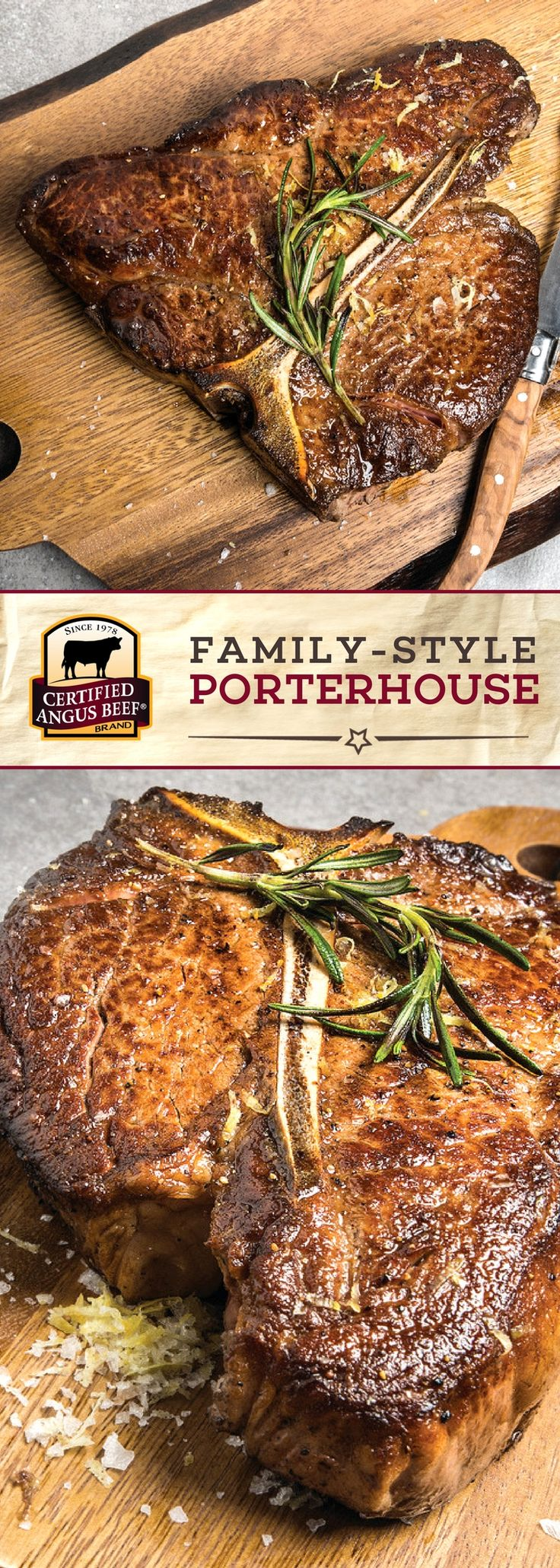 Certified Angus Beef®️️️️ brand Family-style Porterhouse is made with the best thick porterhouse steak and an EASY spice blend for a delicious steak dinner! Rosemary and lemon bring out the deep flavors of this incredibly tasty cut of beef. Perfect for a family meal or a meal for two! #bestangusbeef #certifiedangusbeef #beefrecipe #dinnerrecipes #steakrecipes