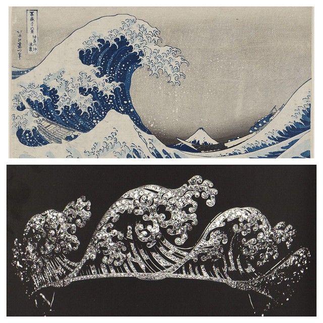 Vintage Rhinestone Tiara inspired by Japanese Wave Prints (c. 1920s ?)