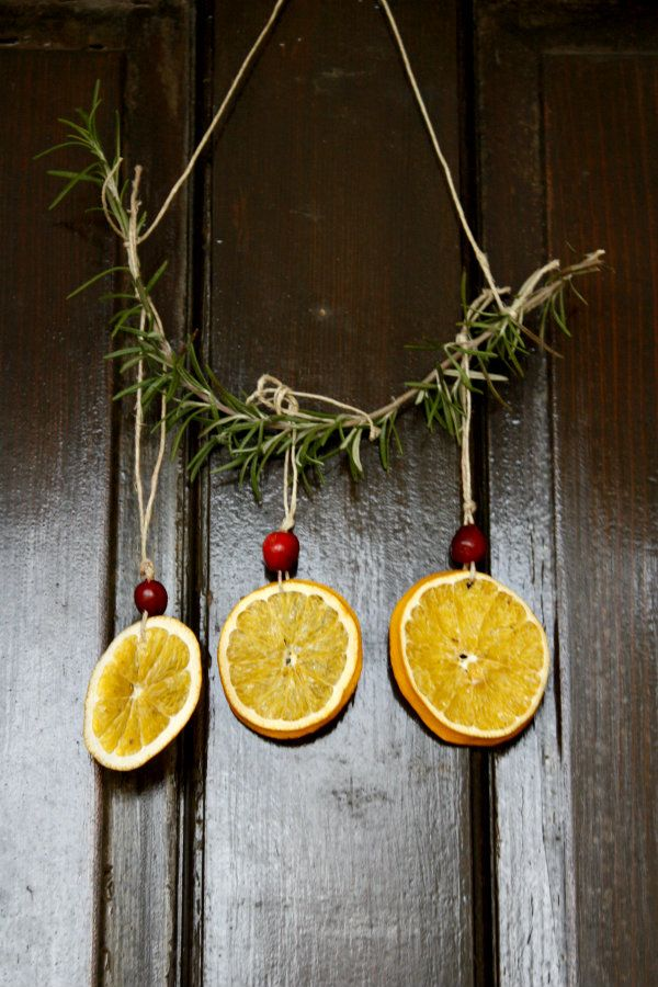 dried orange and cranberry Yule lanterns/hanging/ornaments - 5 Orange Potatoes