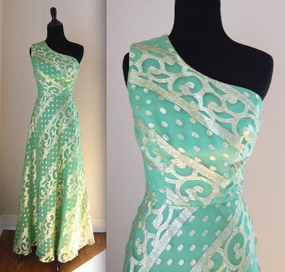 One Shoulder Evening Dress/ Green Sari Prom Dress/ Indian Style Maxi Dress/ Metallic Brocade Dress/ Womens Vintage Dress Size XS Small