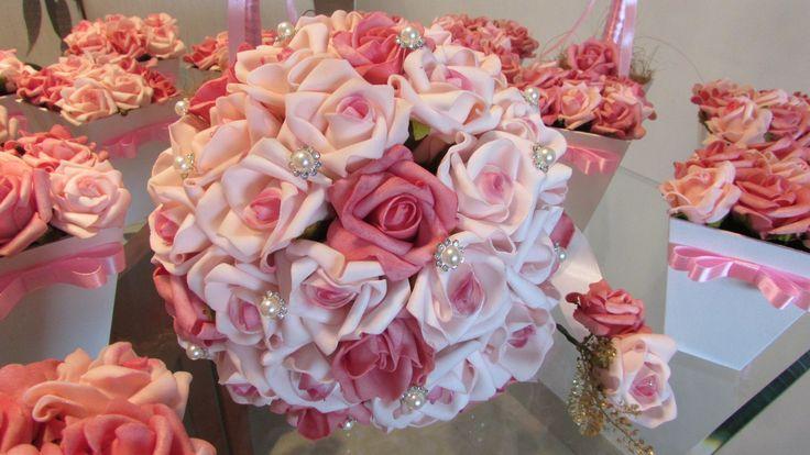 rosa decoração de casamento centro de mesa.04
