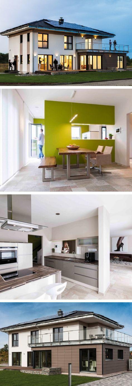 Stadtvilla modern mit Anbau für Einliegerwohnung Büro – Fertighaus mit Walmdach Linz Sonderplanung Kampa Haus – HausbauDirekt.de   – Monika Krzeminska
