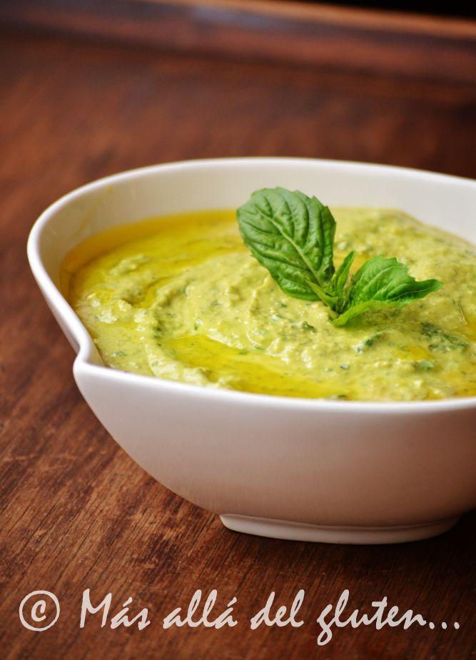 Más allá del gluten...: Hummus con Pesto (Receta GFCFSF, Vegana)