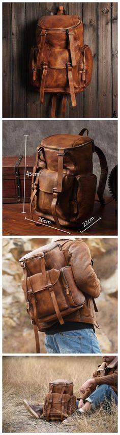 LISABAG--Vintage Handmade Genuine Leather Backpack Casual Rucksack Travel Backpack Hiking Backpack MT06
