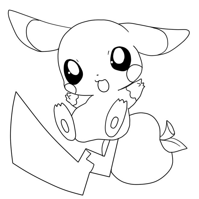 Baby pikachu coloring pages cute   Pikachu coloring page ...