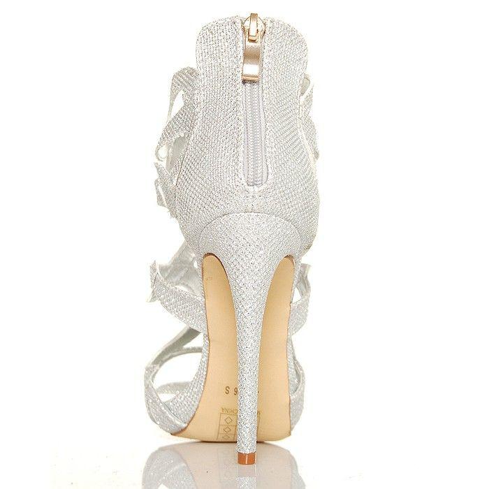 Sandały Silver Błyszczące Brokatowe Ażurowe Ozdoby - www.BUU.pl
