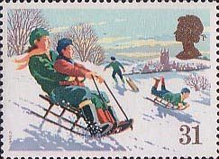 Christmas 31p Stamp (1990) Tobogan