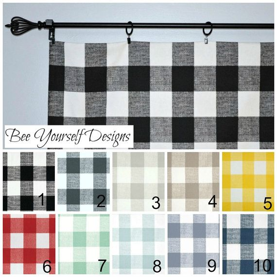 Buffalo Check Valance Curtain  Anderson  by Beeyourselfdesigns