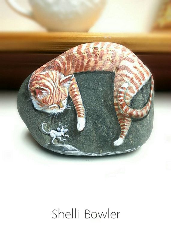 Sleeping Tabby Cat as White Mice Tiptoe, painted rocks by Shelli Bowler…