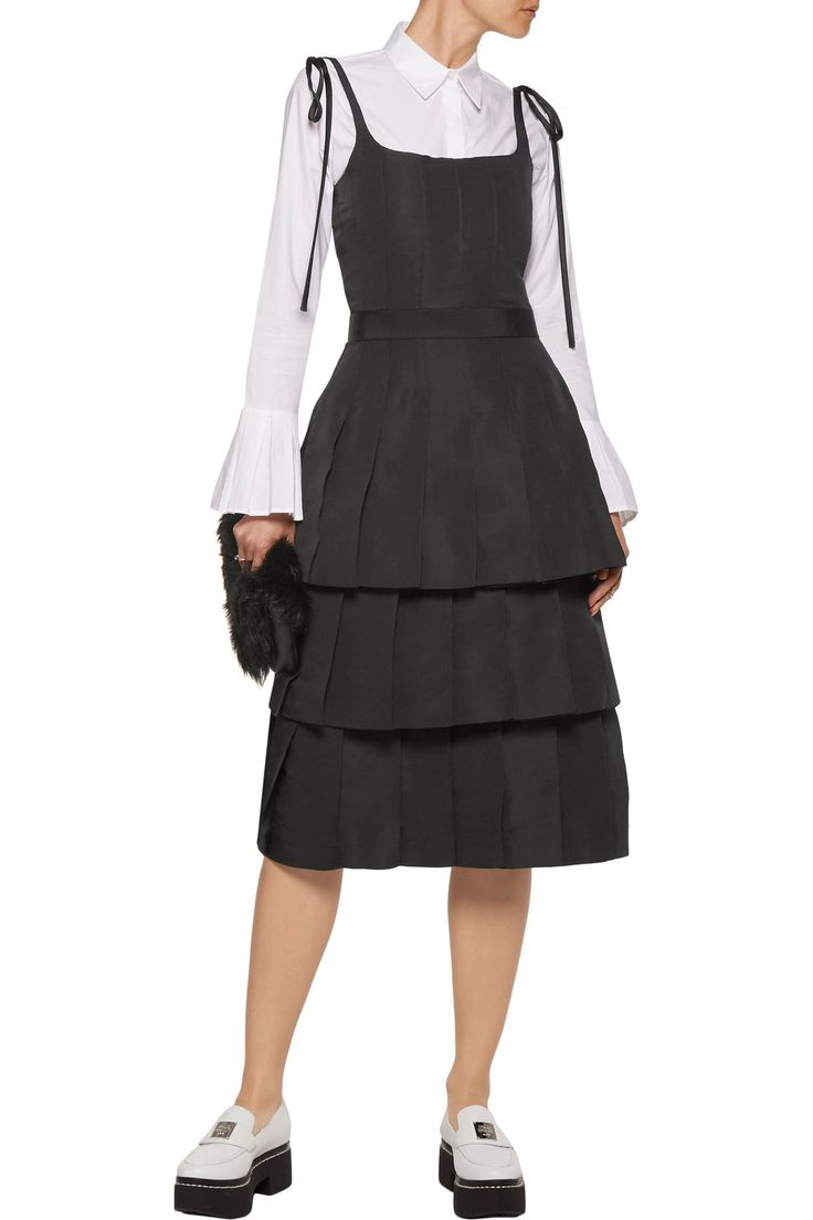 Satin-trimmed tiered silk-faille dress   THOM BROWNE   Sale up to 70% off   THE OUTNET
