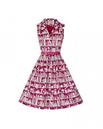 Matilda Red Baking Bookcase Print Rockabilly Shirt Dress | Vintage Inspired Fashion | Lindy Bop