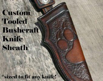 Vaina de cuchillo bushcraft cuero / funda de cuero para hojas