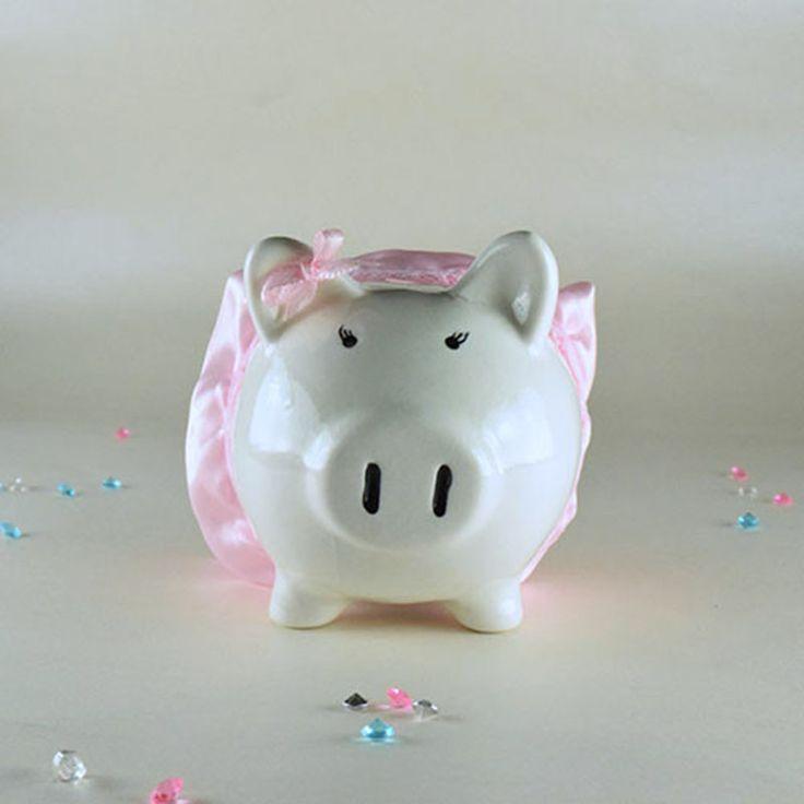 """#bonita #original #alcanciaspersonalizadas Alcancía de cerámica niña """"Piggy"""" con tutú ideal para tu #bautizo la puedes #comprar en nuestra #tienda #ondinecollection"""
