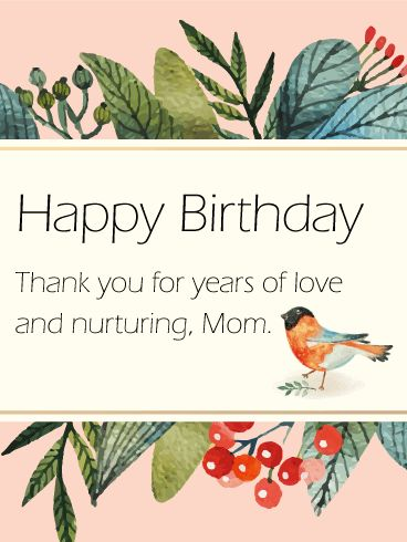 Little Bird Birthday Card for Mom: A little bird told me your Mother will love this birthday card! A truly unique and artistic birthday card to express your heart! With its simple and thoughtful message, you can express your gratitude for all the years your Mom has been there for you.