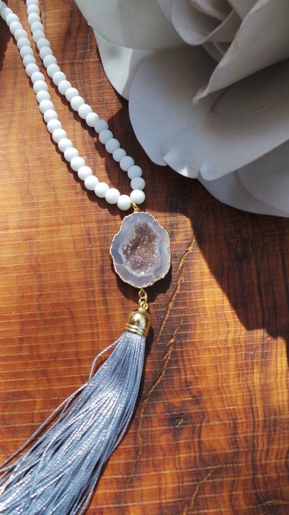 Long beaded druzy tassel necklace. Druzy by AllAboutEveCreations