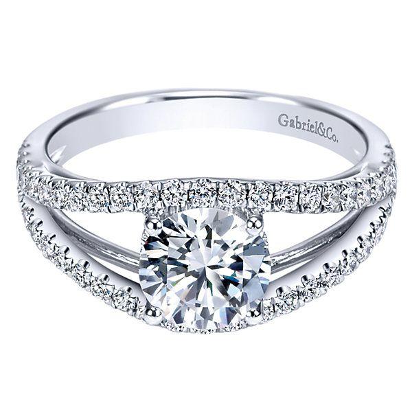 14k White Gold Diamond Split Shank Engagement Ring | Gabriel & Co NY | ER7726W44JJ