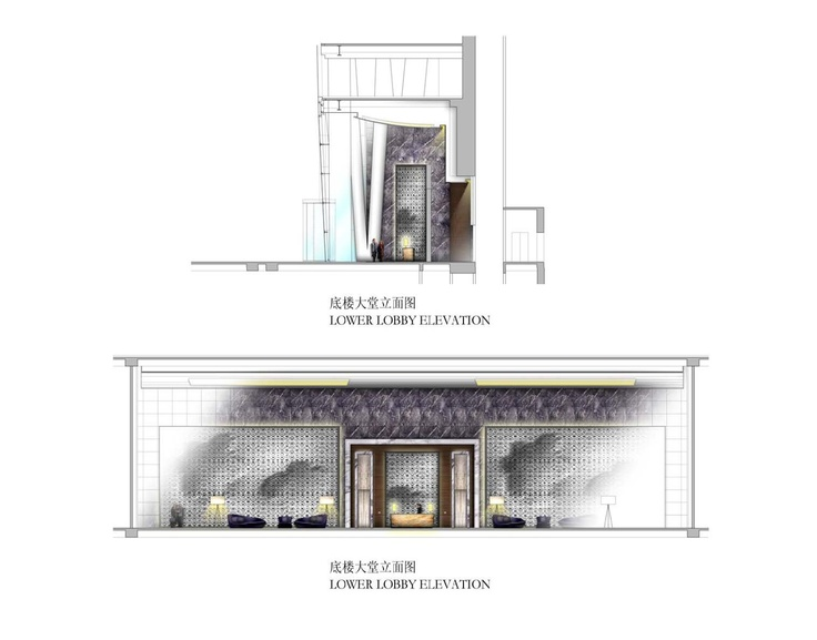 Lower lobby elevation for the four seasons hotel guangzhou for Hotel plan design
