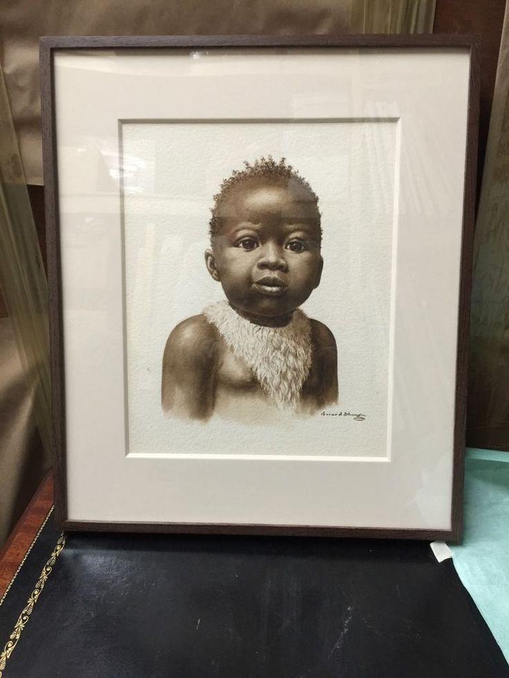 GERARD BHENGU  BEAUTIFUL BABY GIRL WATERCOLOR  SIGNED #Realism