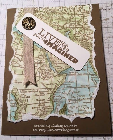 The Nerdy Card Maker: World Map Farewell. Inspiration from paulastamps.blogspot.de Stampin' Up! World Map
