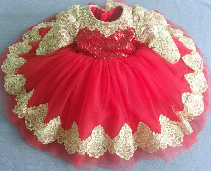 Gold & Red Long Sleeve Embroidered Sequin Baby Toddler Little & Big Girl Tutu Dress Perfect for birthday, wedding or any special occasion -Available from Newborn - 15 Years - Material: Sequin, lace, tulle mesh, purified cotton lining. #goldandredlittlegirlbirthdayoutfit #embroideredsequinpartydress #lacegirldress #redlacegirldress #childrenpartydress #fancypartydress