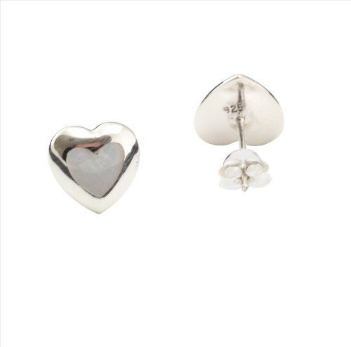 Mother of Pearl & 925 Sterling Silver Heart Studs Earrings DTP. $20.95. Sterling Silver. Mother of Pearl