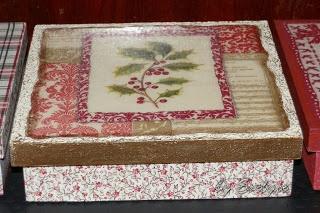 napkin + fabric decupage + texture +paint +resin on mdf box