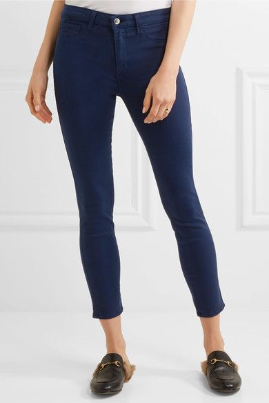 L'Agence - Margot Cropped High-rise Skinny Jeans - Navy - 32