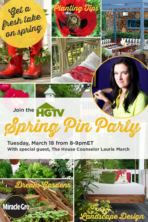 Welcome warmer weather with our Spring Pin Party! We're pinning our best gardening & landscaping tips, plus sharing our most inspiring outdoor spaces. Join the party right here on Pinterest --Tuesday (March 18) from 8-9pm ET. More details plus pin party tips here --> hg.tv/svkfGardens Glam, Warmers Weather, Tuesday Marching, Pinterest Tuesday, Spring Pin, Pin Parties, Outdoor Spaces, Inspiration Outdoor, Gardening Landscapes