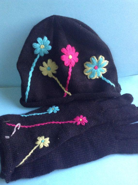 90's NWTs Joyce Leslie Knit Hat and Gloves by GirlyStuffByDeJaVu