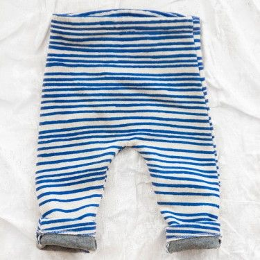 noé & zoë baby pants - blue  Knit pants printed with bold blue stripes. elastic waist with u shaped cut for a slouchy fit. Knit jersey has a beautiful hand feel and is a fleecy, substantial blend of cotton and wool.