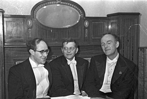 Mstislav Rostropovich, Dmitri Shostakovich and Sviatoslav Richter, 1968.