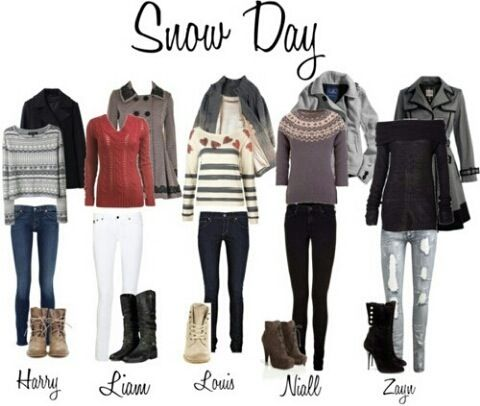 Snow day - one direction preferences- I love how louis is red (hearts) and stripes like he always wears.
