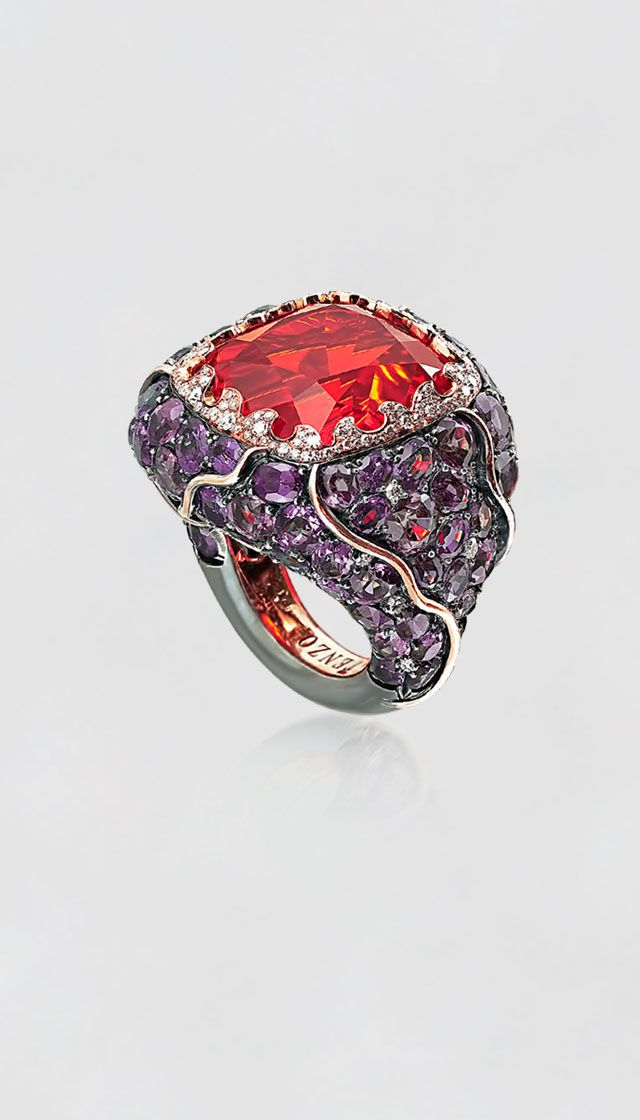 Tenzo. Fire Opal, color-changing Garnet Ring w/ Diamonds, Platinum + Rose Gold