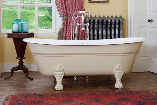 Cast Iron Schooner Bath - Bone Background with Smoked Trout Lines