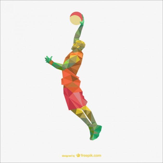 バスケットボールプレーヤーのポリゴン描画 無料ベクター