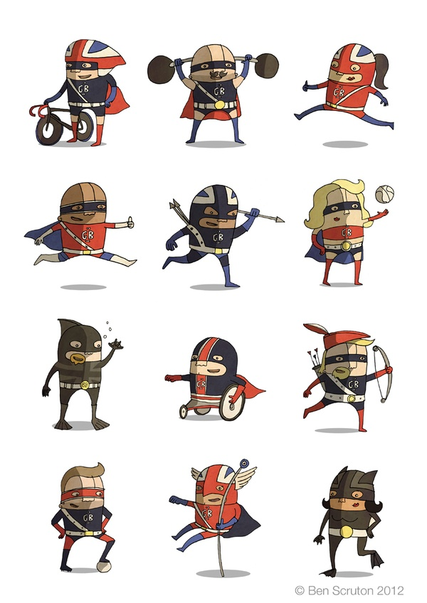I like Ben Scruton's alternate olympians! 'Olympic Superheroes Team GB' #olympics