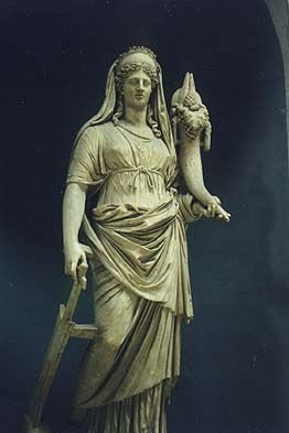 DEMETER/CERES - goddess of agriculture, grain, and the love a mother bears for her child.  She was the daughter of Saturn and Ops, the sister of Jupiter, and the mother of Proserpine. Goddess of the harvest, who presided over grains and the fertility of the earth.