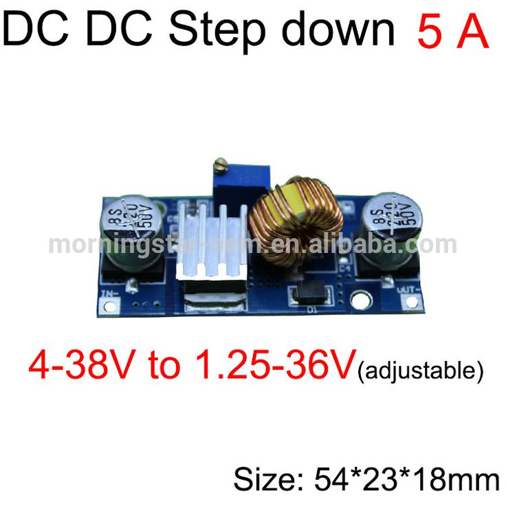 5A DC DC adjustable step down buck converter 4-38V to 1.25-36V 4A 50W for a long time converter for 24v car/laptop power supply