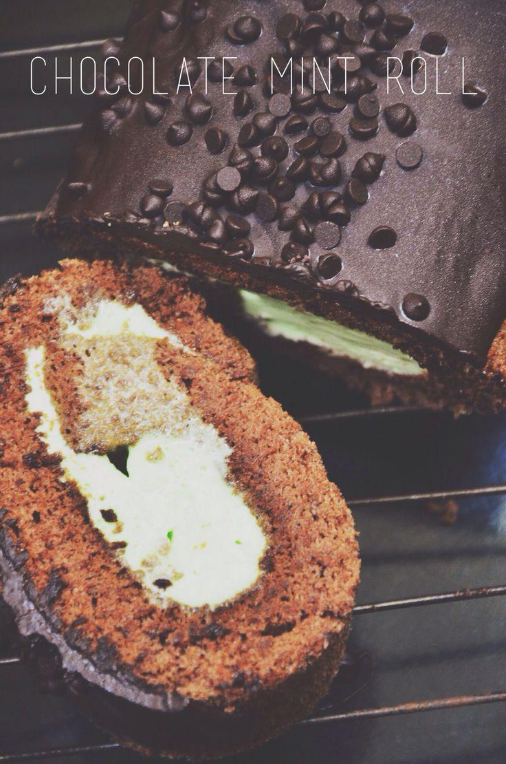 #chocolate #mint #rollcake