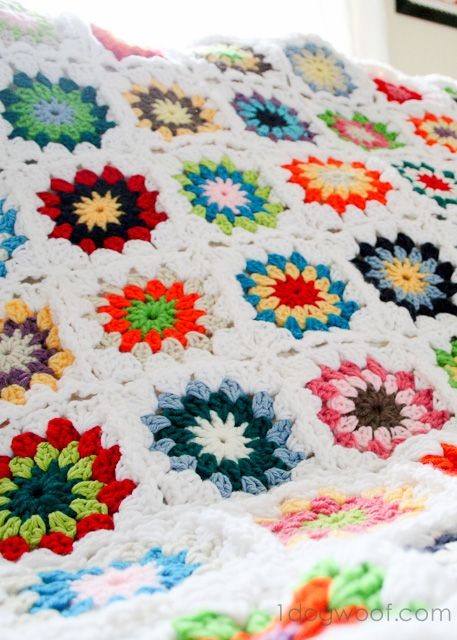 Crochet Quilt : Colorful Squares Crochet Quilt
