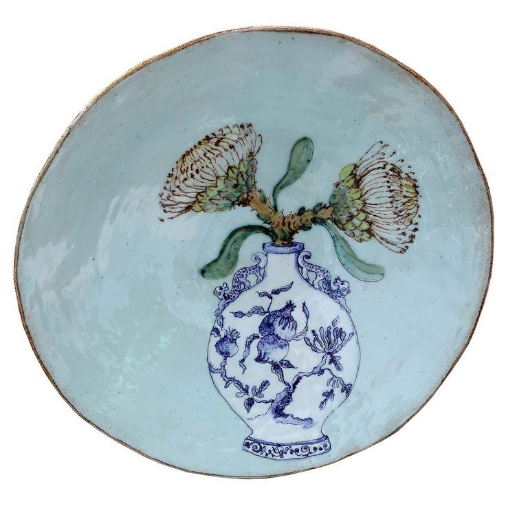 An original ceramic work by Lisa Ringwood entitled: 'Waboom branch in a vase (turquoise large open bowl)', ceramic, d 36cm. For more please visit www.finearts.co.za #ceramic #LisaRingwood #Ceramicist #SouthAfricanArt #SouthAfricanArtist #ChineseCeramics #InteriorDesign #Decor #Decoration #Landscape #Fauna #Flora #Birdlife #VOCware