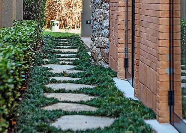 Corredor lateral | As pisadas de pedra formam um caminho irregular. Os espaços entre elas foram preenchidos com grama-preta. Próximo à parede, murtas (Foto: Edu Castello)