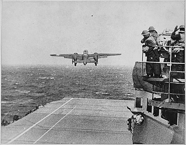B-25 off the deck of the USS Hornet, Doolittle Raid, April 1942. (Doolittle trained for this in SC; a friend's father was on the ship!)
