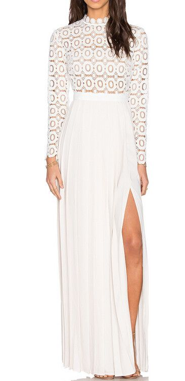 New arrive long white lace dress