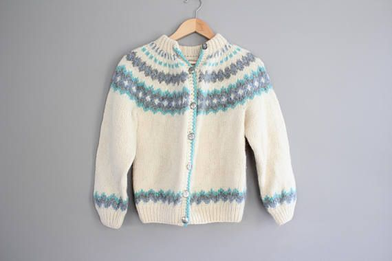 Hand knitted Nordic Norwegian Cardigan Pure Wool Thick Knit