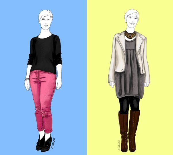 Eine mutige Bloggerin mit A-Figur, ein Mode-Experiment und zwei Outfits zeigen 6 Fashion-Tipps auf, wie Sie Proportionen ausgleichen und sofort schlanker wirken.